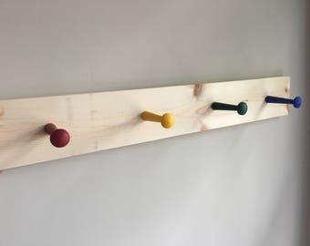 Rainbow - Wall Mounted Shaker Peg Rack - Hats, Coats, Cups, kitchen organizer
