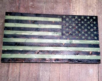 Rustic Wooden American Flag - Military Camo Right Shoulder Patch 37 x 20