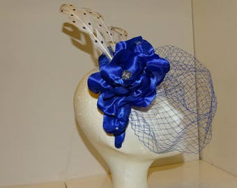 Hat / headdress of blue satin with feathers and veil, for weddings, Ascot, Derby, tea party, Church, celebrations.
