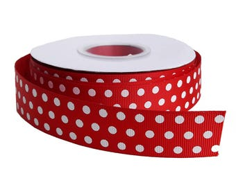 GROSGRAIN Ribbon red / white spotted, 25 mm, 25 m
