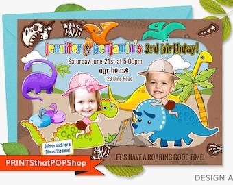 Dinosaur Invitation,FREE Bonus,Custom Face Invites,Kids Invitation,Double Party,Twins,Dinosaur Party,Customize Dinosaurs,Siblings Invite