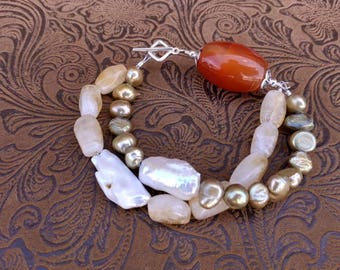 Two strand Citrine, Carnelian, and Freshwater Pearl Bracelet