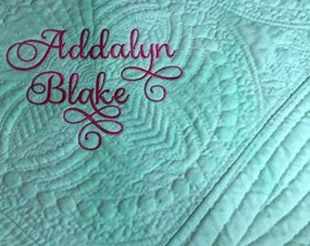 Baby Quilt Machine Embroidered Personalized Mint Green Baby Shower Gift