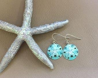 Aqua Sand Dollar Dangle Earrings