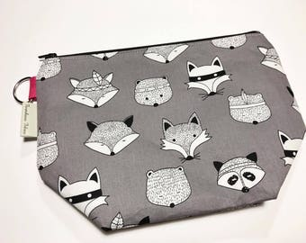 CLEARANCE - Medium Project Bag - Forest Animals on Grey