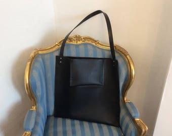 Bespoke Black leather oversized cross body bag minimalist
