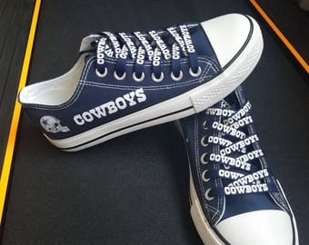 Dallas cowboys shoes Blue cowboys sneakers Print shoelaces Fashion canvas shoes