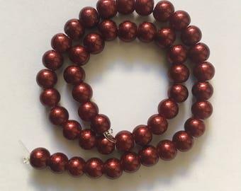 Red Round Metallic Beads