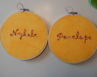 Custom Hand-Embroidered Name Hoop
