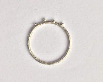 Textured bubble stacking ring in sterling silver