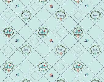 Fat Quarter Tasha Noel - Country Girls - Birds Aqua By Riley Blake Designs Cotton Quilting Fabric