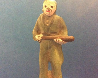 Vintage Iron Casted Toy Soldier Holding a Bat