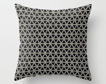 Black Geometric cushion, Geometric throw pillow, throw pillow, cushion cover, black geometric, geometric home decor, black and gold, cushion