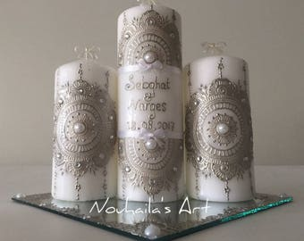 Personalized candle set with decorated mirror