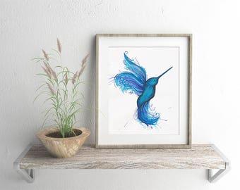 Hummingbird Watercolour Giclee Fine Art Print