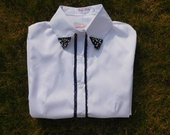 Ladies White Shirt with Embellished Collar and Lace detail