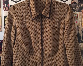Brown vintage patterned button up blouse