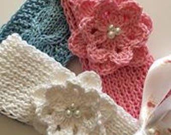 Knitted headband, Girl headband, Cotton headband, Spring accessory, Birthday gift, White headband, Baby headband