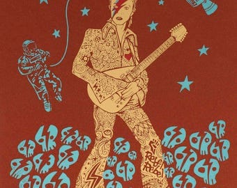 David Bowie thunderbolt Screenprint Metallic Bronze Paper skull Major Tom Astronaut Ziggy Stardust limited edition rock guitar bolt lighting