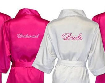 Bridal Party Satin Robes With Embroidered Monogram