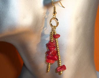 Red coral and gold earrings