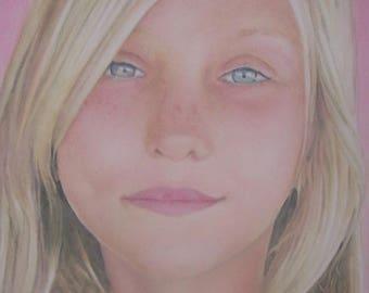 Child portrait, portrait painting, acrylic, watercolor, children, adults, pets