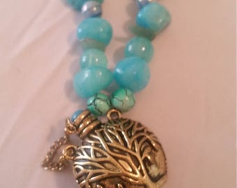 Blue Tree of Life Potion Bottle Necklace