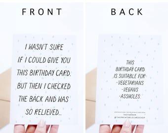 Funny Birthday Card Instant Download, Mature Humor Printable Birthday Cards,  Vegetarian, Vegan,