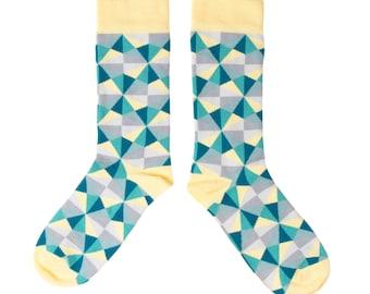 Mens Yellow Geometric Socks