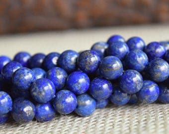 8mm Natural Color Lapis Lazuli Gemstone (NOT DYED), Round 8mm Loose Beads 15.5 inch Full Strand, Lapis Lazuli Gemstone, Genuine Lapis Lazuli