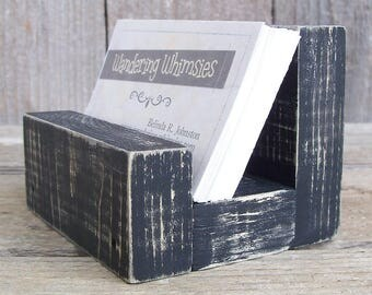 Rustic Wood Business Card Holder - HORIZONTAL Style, Country, Office Decor, Card Stand, Placard Holder, Small, Organizer, Display Stand