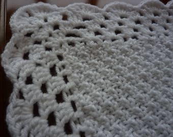 Snuggly easy care white handmade baby shawl
