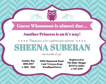 Owl Baby Shower Invitation (Digital)