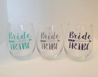 Set of 3, 4, 5 or 6 Bride Tribe Wine Glasses | Personalized Bridesmaid Wine Glasses | Bachelorette Party Wine Glasses