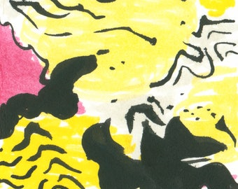Abstract marks in yellow, pink and black miniature art Original hand painted ACEO
