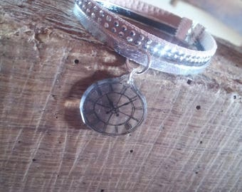 Two leather rhinestone and pendant bracelet