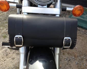 Black Leather Motorcycle Fork Bag, Tool Bag, Hand Laced