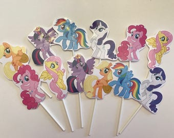 My Little Pony cupcake toppers. 12 My Little Pony cake toppers. Birthday party supplies.