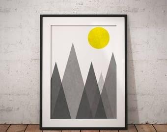 Mid Century Modern, Nordic Wall Print, Scandinavian Print Art, Geometric Wall Decor, Best Selling Art Print #MidCenturyCollection Nº2