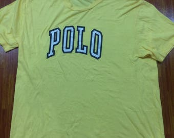 Vintage Polo big logo tshirt..yellow colour size LL..