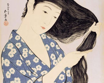 "Japanese Art Print ""Woman Combing Her Hair"" by Hashiguchi Goyo, woodblock print reproduction, fine art, asian art, cultural art"