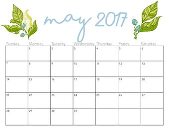 Printable May 2017 Calendar - Floral design
