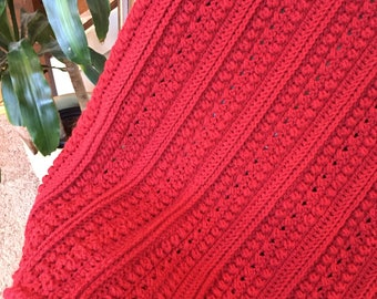 Crochet Aran Throw in Berry Red
