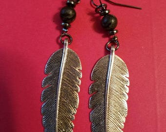 Handmade Feather Earrings with Lava Beads, Tibetan silver