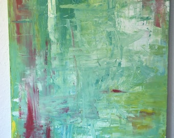 Abstract acrylic painting green red white structure 80x60 cm (23,62x31,50 inch) large spring feeling