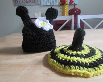 Hand Crochet Baby Bumble Bee Photo Prop Hat & Butt Cover Preemie to 6 Months