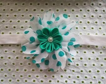 Baby Headbands. Baby teal headband. Hair Accessories for baby. Flower headband. kanzashi. Teal White Headband. Teal white Headwrap. Toddler.