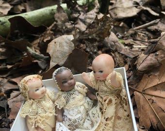 Rare Antique Bisque Dolls - set of 3