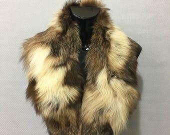 Beautiful Real Natural Beige Fox Fur Collar