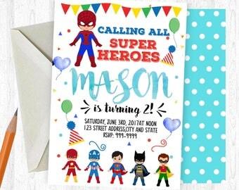 Super Heroes Birthday Invitation, Super Heroes Invitation, Super Heroes Invite, birthday invite, Birthday Party,  Printable Invitation